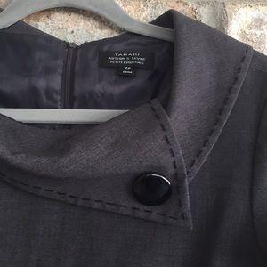ELIE TAHARI CHARCOAL-GRAY ENVELOPE COLLAR DRESS 6P